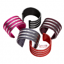 Moroccan Open Bangles Silver with Handwoven Silk Stripes Adjustable Handmade Available in 5 Colours